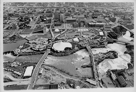 Aerial view of Expo 74 under construction