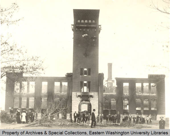 Aftermath of the Normal School fire 1912
