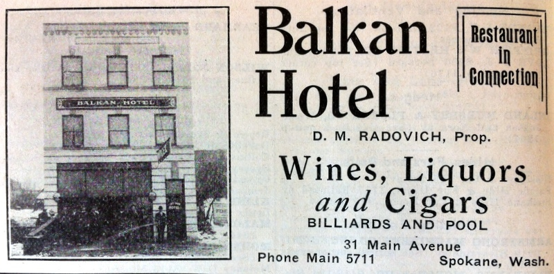 The Balkan Hotel Listing, 1909 City Directory