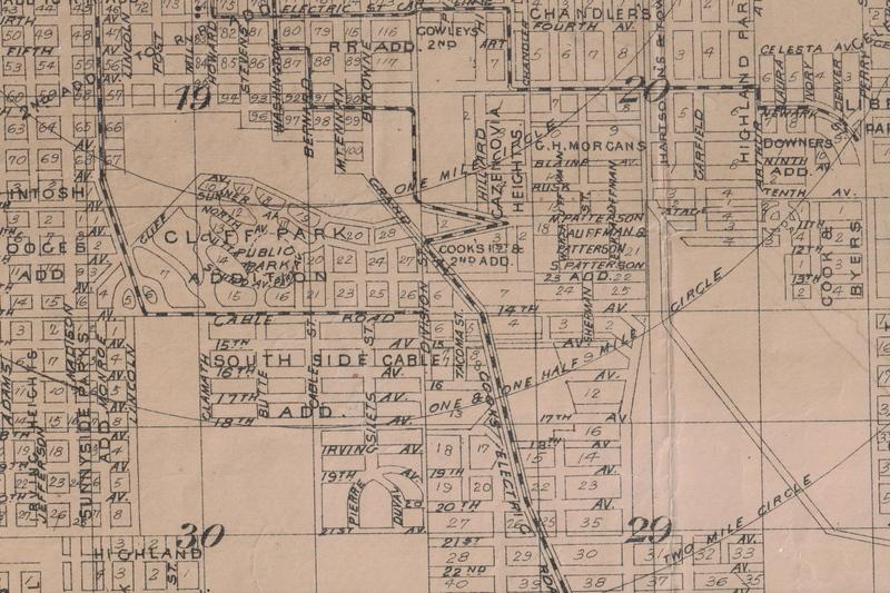 Map of Cliff Park circa 1909