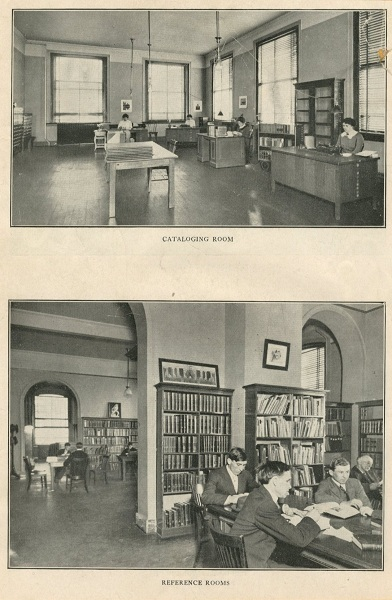Carnegie Library early 1900s: Cataloging Room and Reference Room