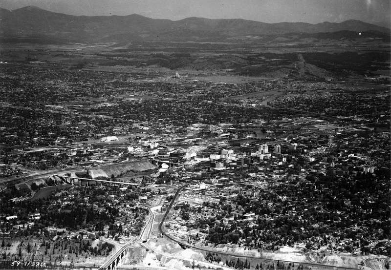 Arial view of Spokane, 1959 (image L87-1.1133C-59 courtesy of the Northwest Museum of Arts and Culture)