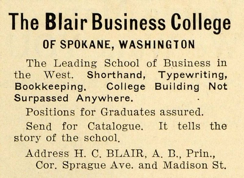 Early advertisement for Blair Business College