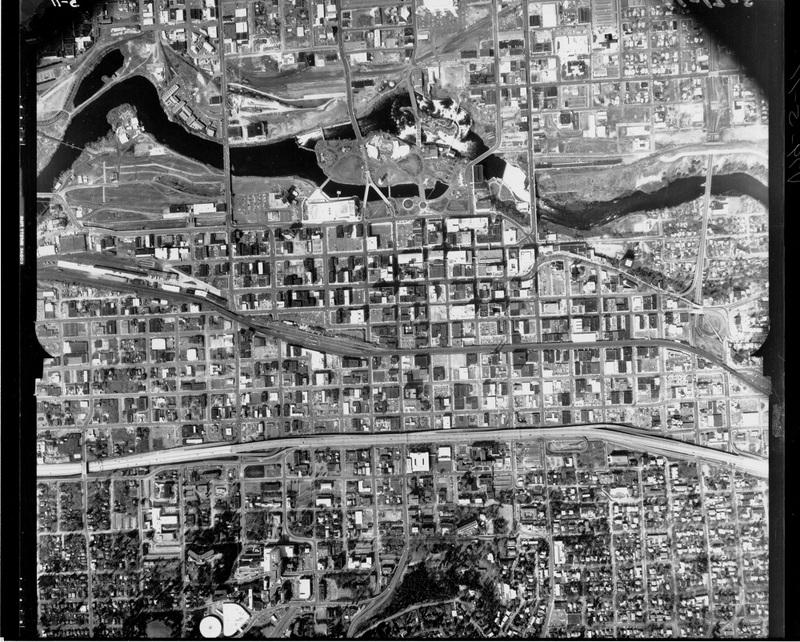 Aerial of Spokane featuring the completed I-90 freeway, probably 1971 or 1972 (image L2012-1.8 courtesy of the Northwest Museum of Arts and Culture)