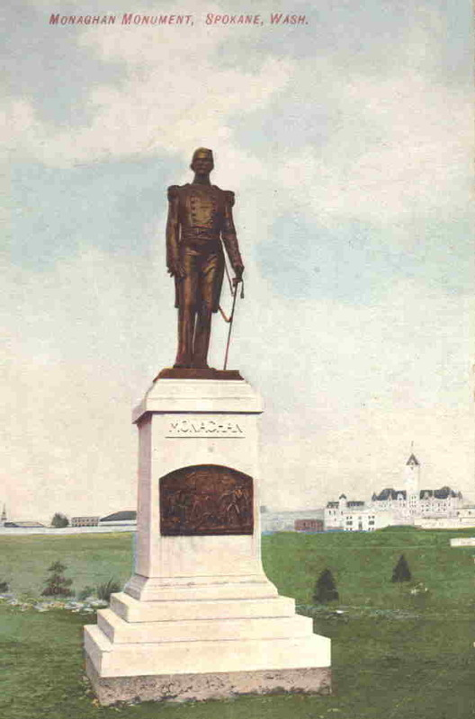 Old postcard of Monaghan Statue.