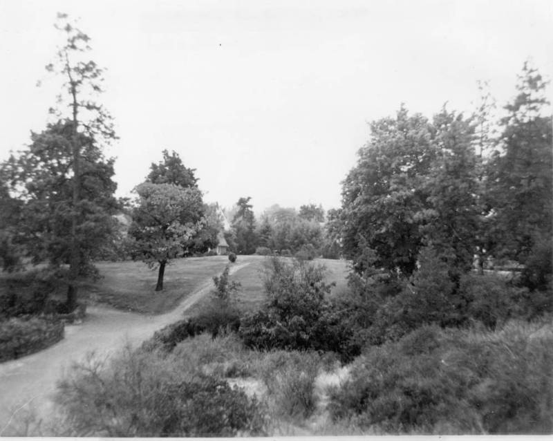 Looking northeast from the corner of 5th and Aurthur at the entrance to Liberty Park playground, undated (courtesy of the digital image collection, Northwest Room, Spokane Public Library)