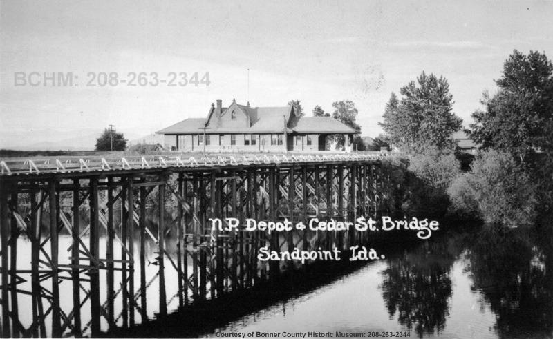 The Cedar Street Bridge leading to the Sandpoint Train Depot.