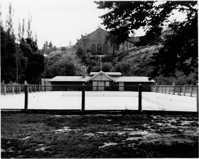 Swimming pool and bath house in Liberty Park built in 1920, undated (image courtesy of the digital collection, Northwest Room, Spokane Public Library)