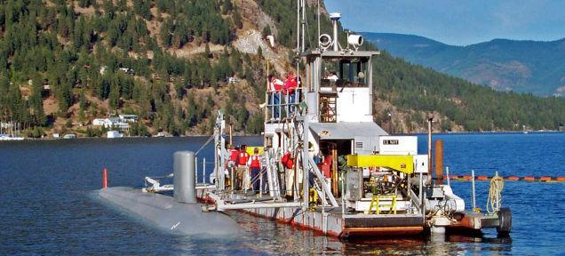 Navy test barge in the middle of Scenic Bay on Lake Pend Oreille.