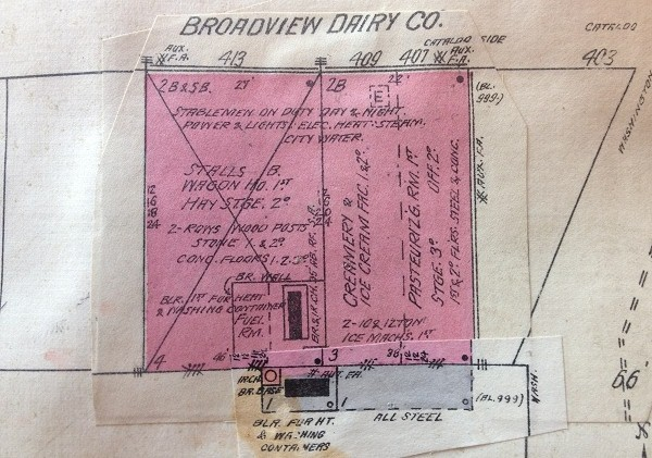 1910 Sanborn map of Broadview Dairy