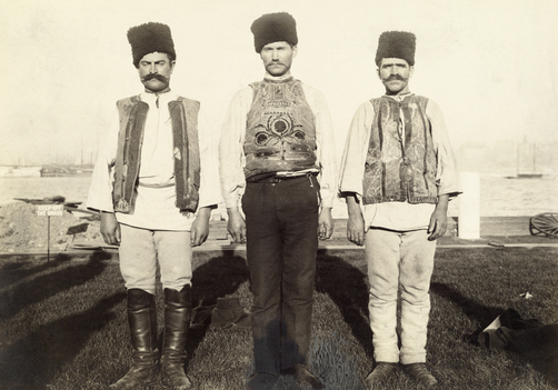 Immigrant Montenegrins in traditional clothing.