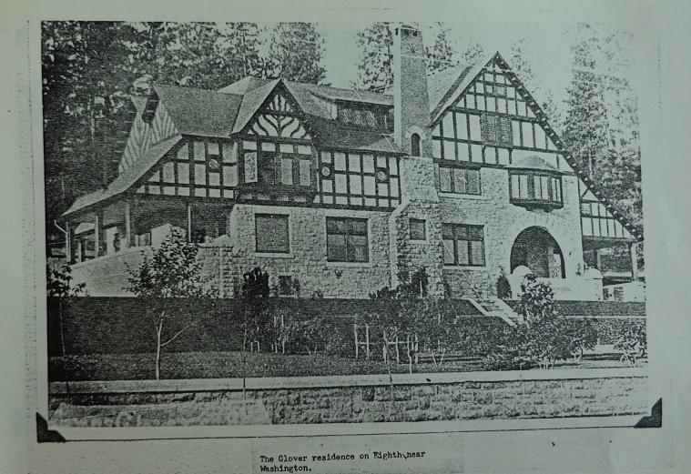 The Glover Mansion. Glover's residence until he was forced to move to a more economical abode.