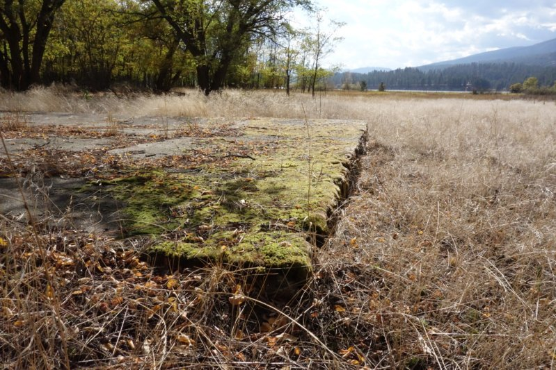 A building foundation from old Kettle Falls, on the edge of Lake Roosevelt.