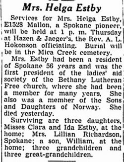 Obituary for Helga Estby