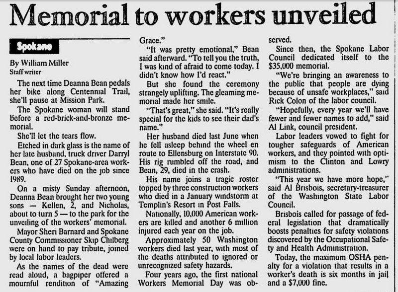 Workers' Memorial Dedicated, April 1993