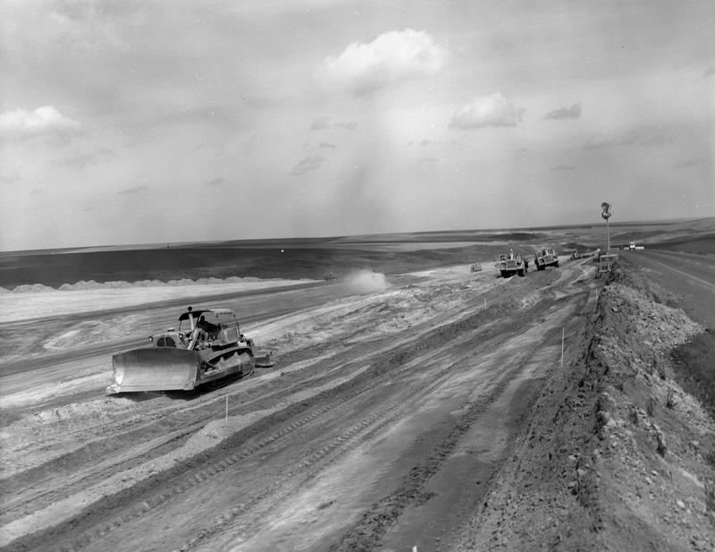 I-90 under construction, Eastern Washington.  Image courtesy of the Washington State Archives, Digital Archives.