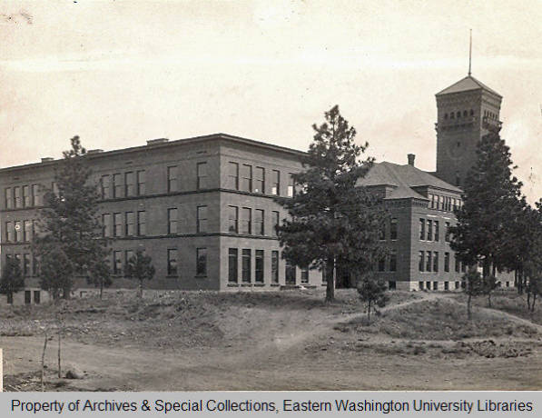 Cheney State Normal School: Administration Building (foreground) and Teacher Training building (background) 1910.