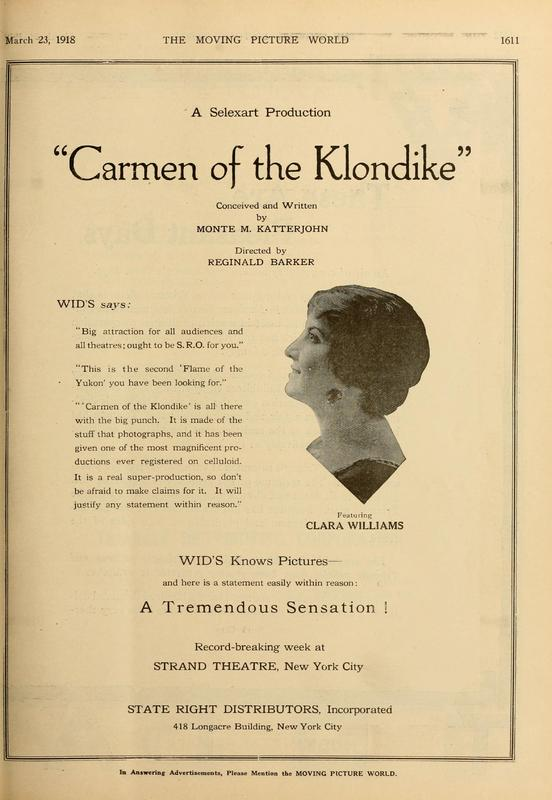 """Advertisement for the 1918 film """"Carmen of the Klondike."""""""