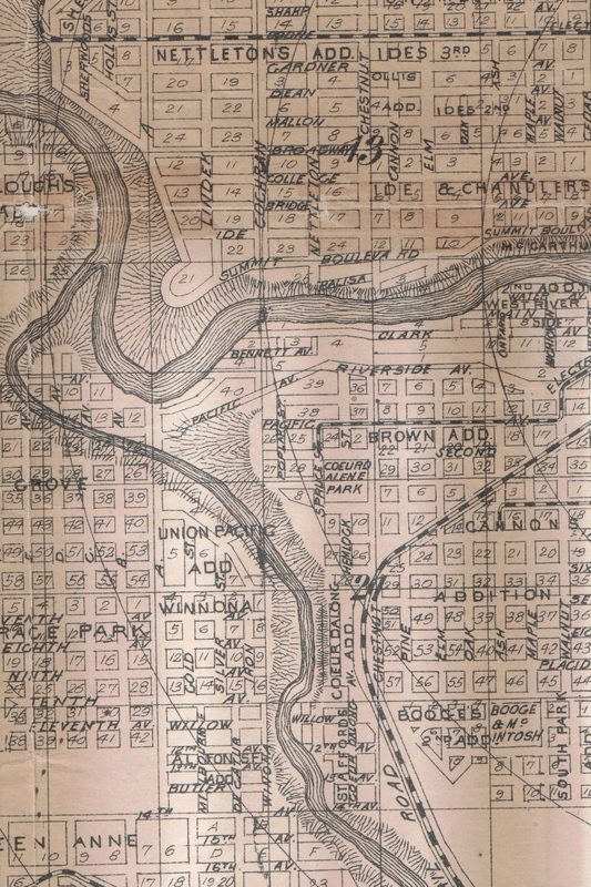 High Bridge Area - Spokane Map circa 1903