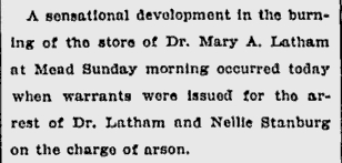Partial Article on Dr. Latham's Arrest for Arson
