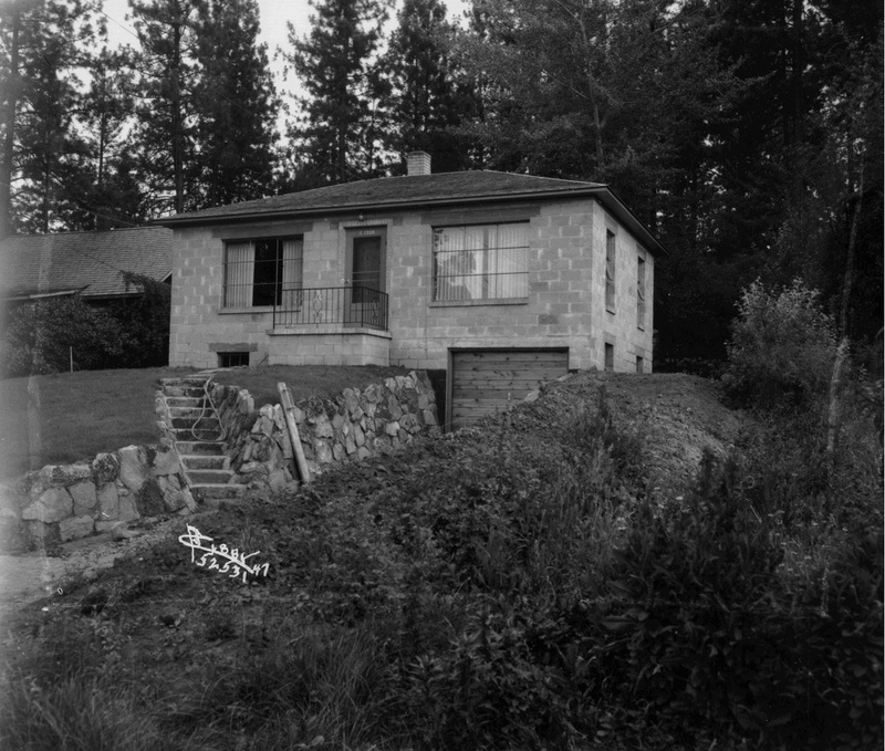 "1947 - A typical home located ""below the bluff"" in East Central (image L87-1.52531-47 courtesy of the Northwest Museum of Arts and Culture)."