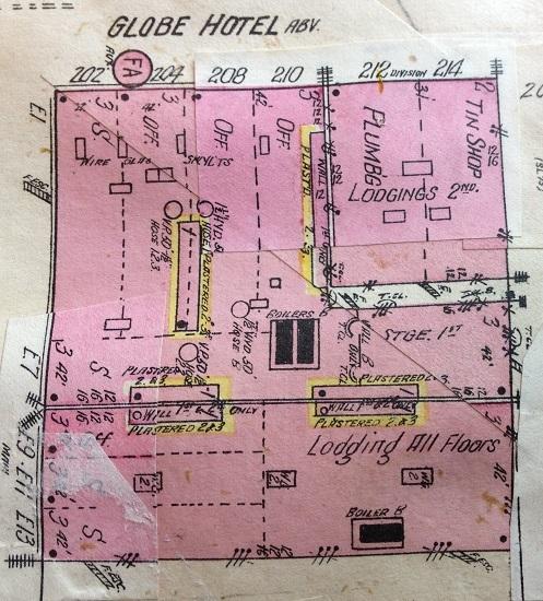 Sandborn Map of Globe Hotel ca.1910