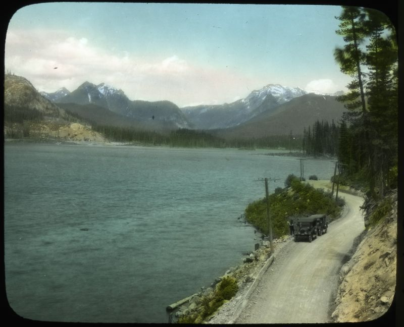 Lake Keechelus and the Sunset Highway, 1920-1930, Curtis, Asahel, Conservation Department, Planning and Development Division, Lantern Slide Shows, 1908-1939, Washington State Archives, Digital Archives, http://www.digitalarchives.wa.gov, April 18, 2013.