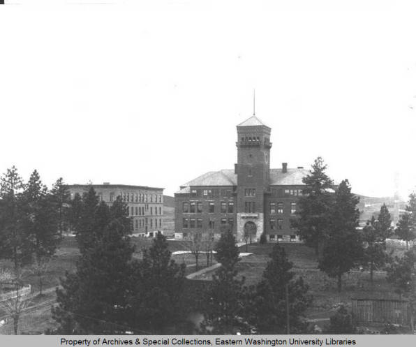 Cheney State Normal School: Administration Building (foreground) and Teacher Training Building (background) 1910