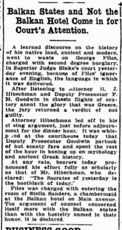 Balkan Hotel Resident in the News, Nov. 1914