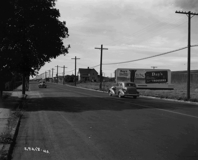 Sprague Avenue, 1943.  Before the construction of I-90, many of Spokane's most prosperous businesses were located along the Sprague corridor (image L87-1.29218.43 courtesy of the Northwest Museum of Arts and Culture).