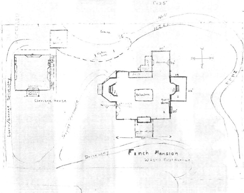 "Layout of Finch Mansion and Carriage House, no date. Image from: Garrett, Patsy, and Jacob Thomas. ""National Register of Historic Places Inventory -- Nomination Form: Finch Mansion"". United States Department of the Interior: National Park Service, September 1975."
