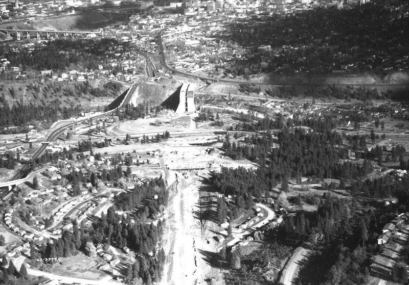 I-90 under construction, just west of Spokane, 1964 (image L87-1.1973C - 64 courtesy of the Northwest Museum of Arts and Culture)