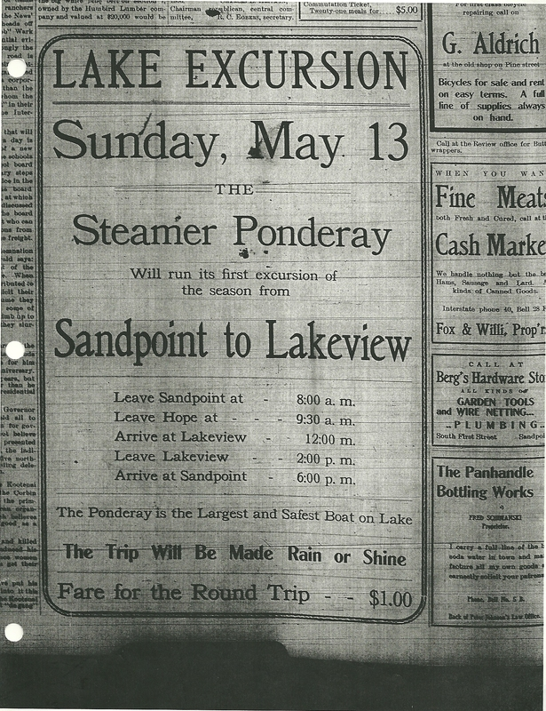 Lake Pend Oreille steamer excursion in the Sandpoint paper.