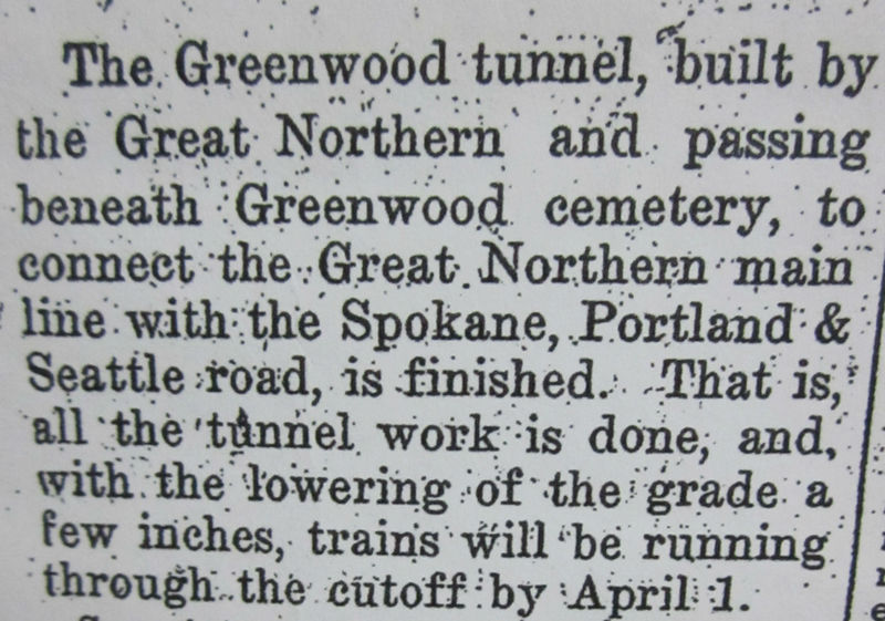 Great Northern Tunnel, 2200 Feet Long, Under Greenwood Cemetery, Completed