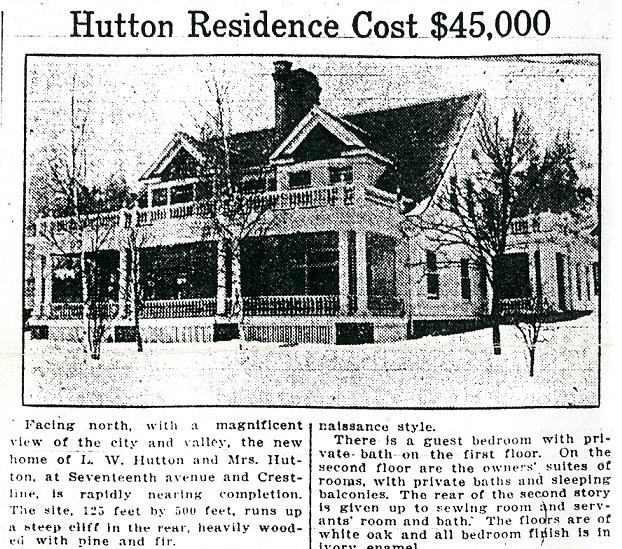 Hutton Home Cost $45,000 in 1914