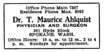 Dr. Ahlquist's business advertisement