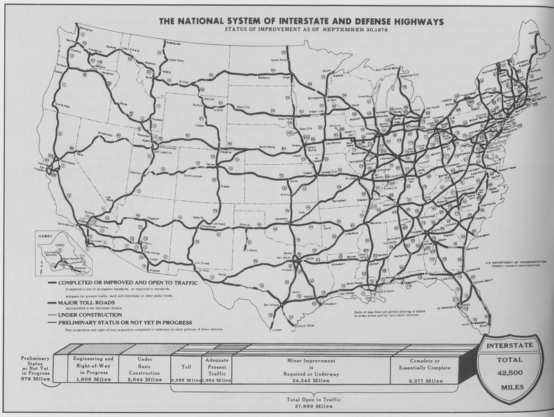 The Federal Interstate Highway System as of September, 1976.  Image courtesy wiki commons.
