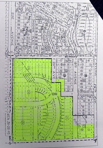 Map of Land sold to the City of Spokane which included Manito Park