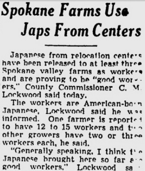 Spokane Farms Use Japs from Centers
