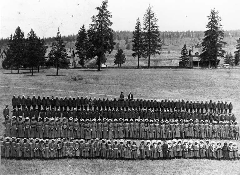 Spokane Indian Students at Fort Spokane, c. 1904
