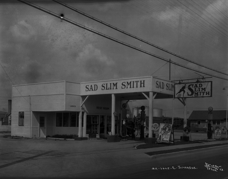 The Sad Slim Smith Service Station at 3025 East Sprague, 1928 (image L87-1.37119-28 courtesy of the Northwest Museum of Arts and Culture)