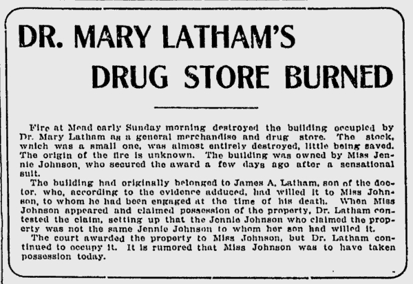 News Article about Dr. Latham's Store Burning Down