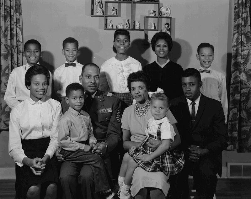This Air Force non-commissioned officer and his wife raised a large family in the East Central neighborhood at the height of the Cold War in the 1950s and 1960s (image L87-1.2245-61 courtesy of the Northwest Museum of Arts and Culture).