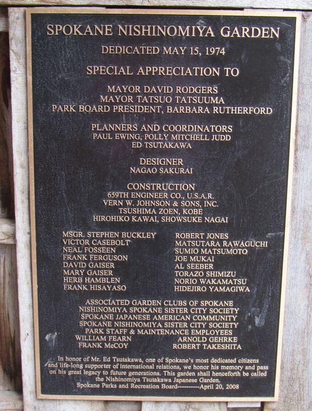Spokane Nishinomiya Garden Dedication Sign