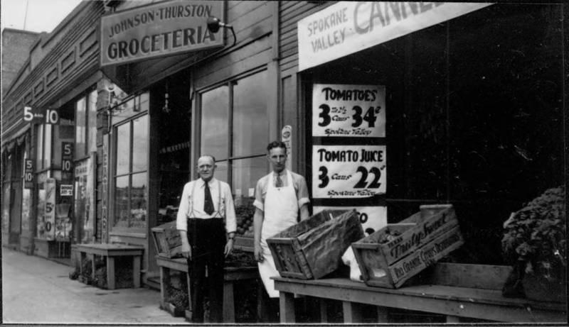 Johnson & Thurston Grocery Store. E. 1820 Sprague Ave. Olof Johson & Ott Thurston in front, 1938 (image courtesy of the digital collection, Northwest Room, Spokane Public Library)