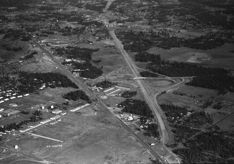 I-90 construction near Geiger field, just a few miles west of Spokane, 1962 (image L87-1.2357A-62 courtesy of the Northwest Museum of Arts and Culture)