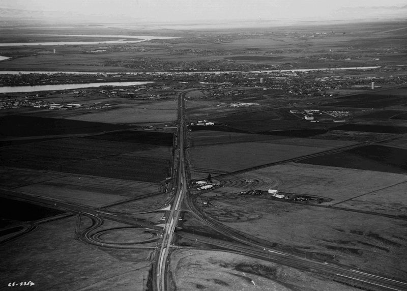 I-90 after completion near Moses Lake, 1965 (image L87-1.2352-65 courtesy of the Northwest Museum of Arts and Culture)