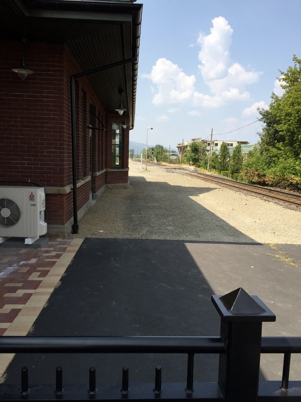 Looking north from the covered passenger waiting platform of the Sandpoint Train Depot.