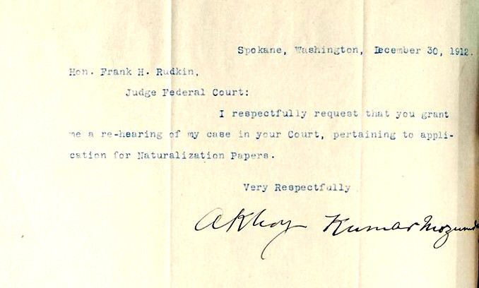 A 1912 letter from Mozumdar requesting a re-hearing of his case for naturalization.