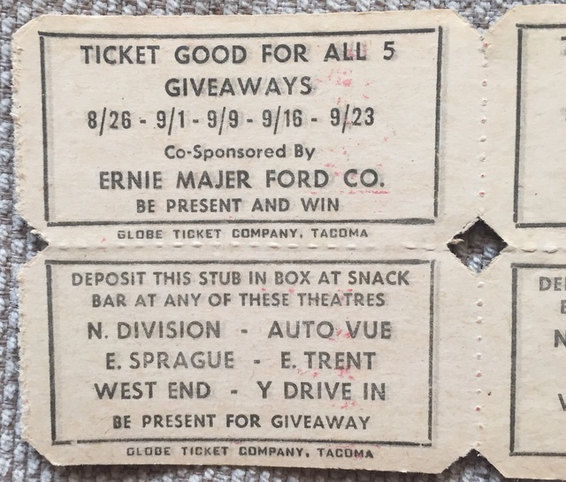 Early ticket stub for the Y Drive-In